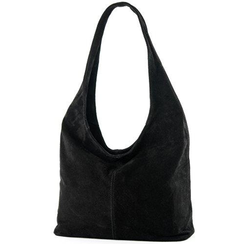 modamoda de - T150 - ital Schultertasche aus Leder Wildleder, Farbe:Schwarz