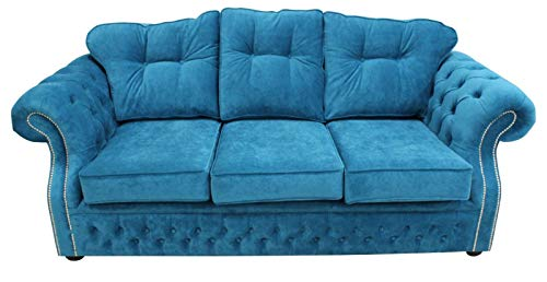 JVmoebel Tapicería de tela azul Chesterfield, 3 plazas, diseño de sofá