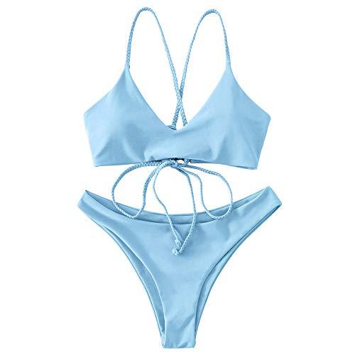 ZAFUL Criss Cross Lace Up - Bikini acolchado para mujer