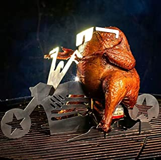 Motorcycle Beer Can Chicken Holder for Grill, Portable Beer Butt Chicken Stand, Beer Chicken Roaster, BBQ Chicken Rack for...