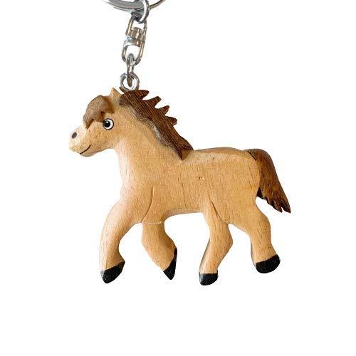 JA Horse - Holz Schlüsselanhänger Pferd Pferdchen Pony Reiten Tier handgemacht (laufendes weißes Pony)
