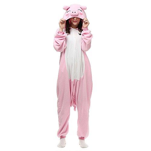 Unisex Adults Halloween Costumes Onesie Animal Outfit Sleepwear Pink Pig