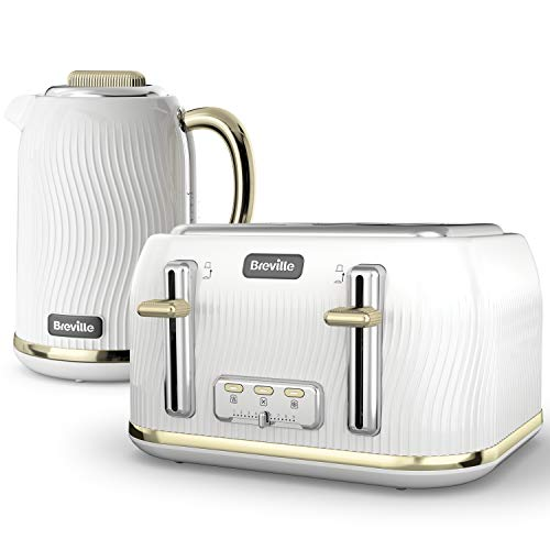 Breville Flow Kettle and Toaster Set | 1.7 Litre Electric Kettle | 4 Slice Toaster with High-Lift and Wide Slots | White and Gold [VKT185 and VKT976]