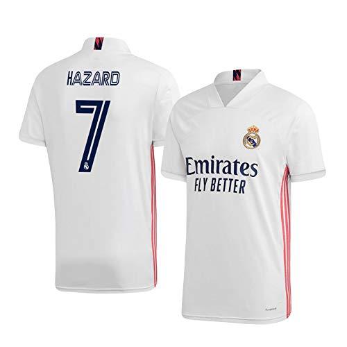 F-shop Eden Hazard Real Madrid Weiß,Maillot Eden Hazard Trikot 2020/21 für Herren & Jungen(Weiß,M)
