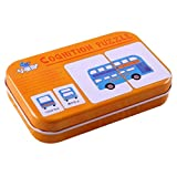 Tarjeta cognitiva Universal para niños con Caja de Transporte de Hierro Tarjeta de Aprendizaje para bebés Herramienta de Aprendizaje de inglés para niños Herramientas educativas (Tráfico Multicolor)