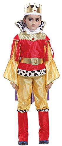 Cloudkids Disfraz de Prncipe Nio (Edad 7-9 aos) Costume Traje Prncipe de Halloween Prncipe Cosplay,Rojo y Amarillo,Talla L