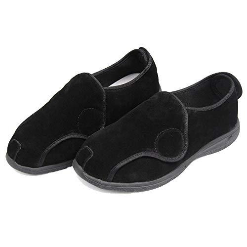 Diabetische wandelschoenen voor heren Ademende sneakers, schoenen van kalfsleer voor heren en dames-UK7_Zwarte klittenband, diabetische pantoffel
