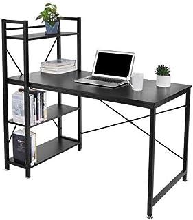 120 * 60 * 120cm Bureau, Table Informatique, Bureau d'ordinateu, Poste de Travail, avec 4X étagères de Rangement,Stable, M...