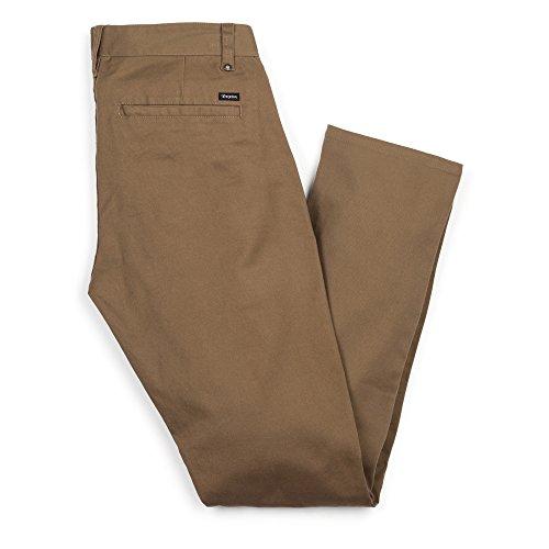 Brixton Men's Grain Chino Pant, Dark Khaki, 34