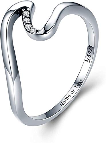 SHAREMORE Wave Ring 925 Sterling Silver for Women Personalized Customized Promise Rings Engagement Unique Ring Engraved Free for Girlfriend, Boyfriend, mom, Wife, Sister, Daughter, Women, or Friends.