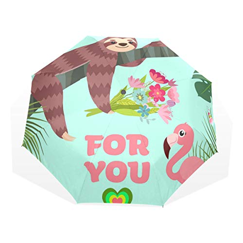 ISAOA Automatischer Reise-Regenschirm,kompakt,faltbar,Tropischer Tiervogel-Flamingo,Winddicht Stockschirm,Ultraleicht,UV-Schutz,Regenschirm für Damen,Herren und Kinder
