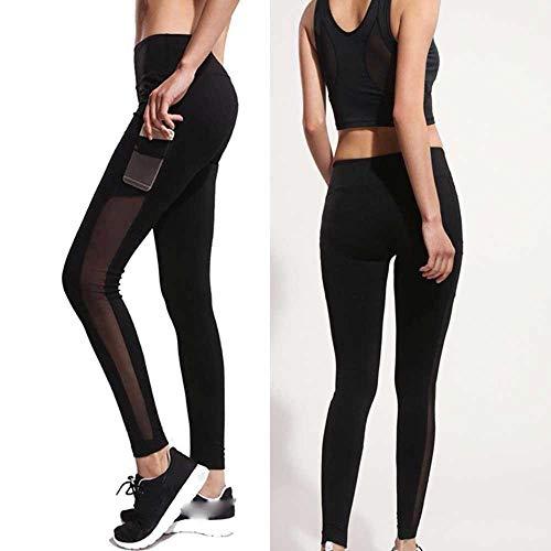 Opprxg Pantalones de Yoga Leggings de Malla Ropa de Entrenamiento para Mujer Ejercicio Deportivo Leggings para Correr Push-ups Gym Stretch Pantalones Delgados Pantalones