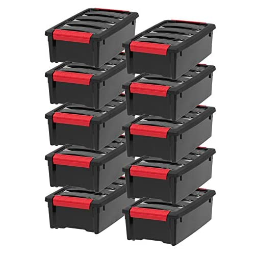 IRIS USA, Inc. TB-28 Stack & Pull Storage Box, 32 Quart, Black TB-56D Stack & Pull Storage Box, 53 Quart, Black 3