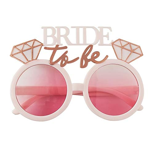 Miss Lovely Party-Brille Spaß-Brille JGA Bride to BE roségold rosa pink/Kostüm Zubehör Accessoires Verkleidung Braut Junggesellen-Abschied Deko Dekoration Junggesellinnen-Abschied Frauen