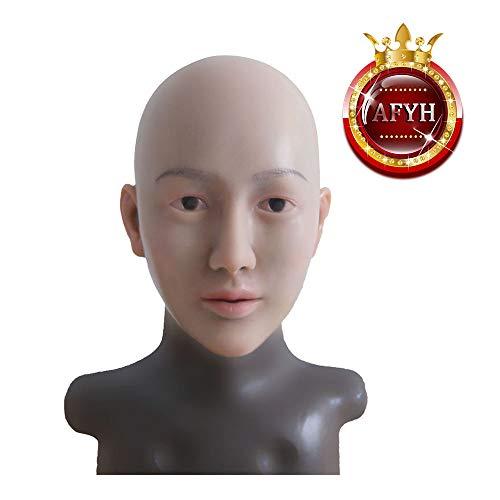 AFYH Silikon Kopfmaske, Maske Transgender Das künstliche Gesicht von TPE verändert das Erscheinungsbild der Unisex-Gummimaske realistisch, geeignet für Make-up-Show-Transgender,Color3