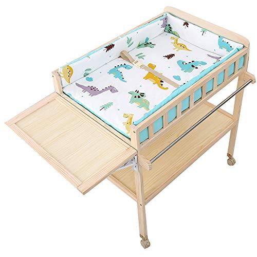 SSZY Cambiador Bebé Organizador de Madera para Cambiar Pañales con Tapete y Almacenamiento, Moderna Estación de Pañales Móvil para Bebés/Bebés Recién Nacidos Niños Niñas (Color : White)