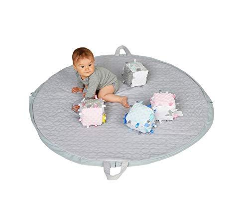 Alfombra retráctil y su cubo sensorial a juego, 100 % algodón OEKOTEX, fabricada en Europa, alfombra de fácil almacenamiento