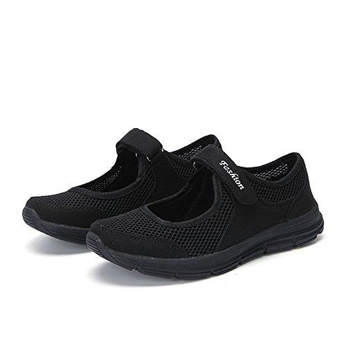 LANSKIRT Zapatillas Running de Mujer Sin Cordones Zapatos de Verano 2019 Velcro Moda Sandalias de Antideslizantes Zapatillas Deportivas para Correr Calzado Comodo Transpirables (Negro, 39 EU)