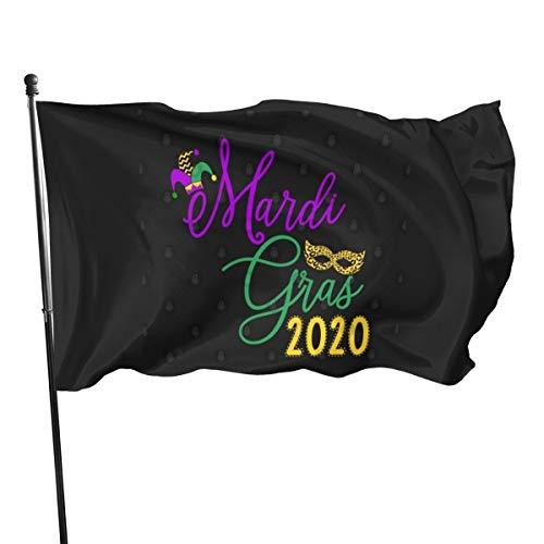 N/ Mardi Gras 2020 T-Shirt für Frauen und Mädchen, Flaggen-Banner, 91 x 152 cm