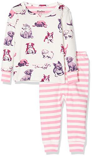 Hatley Mini Organic Cotton Long Sleeve Pyjama Sets Ensemble, Blanc (Precious Pups 100), 6-9 Mois (Taille Fabricant: 6M-9M) Bébé Fille
