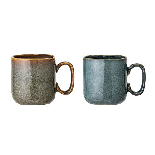 Bloomingville Tassen Aime, blau braun, Keramik, 2er Set