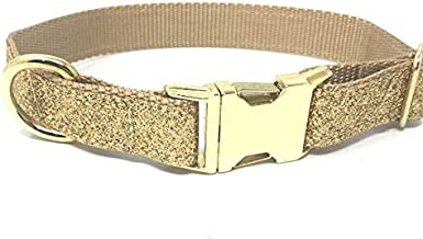 Big Pup Pet Fashion Fancy, Sparkly and Blingy Gold Glitter Dog Collar for Girls