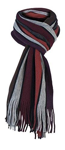 Giovanni Cassini - Herren italienisch inspirierte Streifen Winter Schal (Scarf) (Orange Burg&er)
