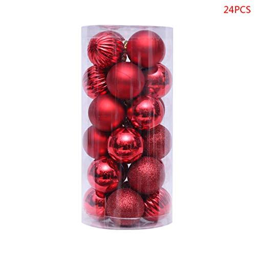 24 stuks 40 mm kerstballen party bolletjes kerstboom decoratie hangend ornament Kerstmis Home Party Decor Nieuwjaar cadeau rood