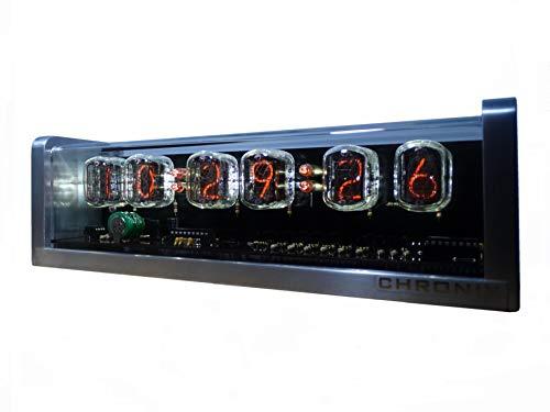 CHRONIX Nixie Röhren Uhr mit 6 x IN-12 Röhrenanzeigen & Alarm & Weiß Hintergrundbeleuchtung & Aluminiumgehäuse