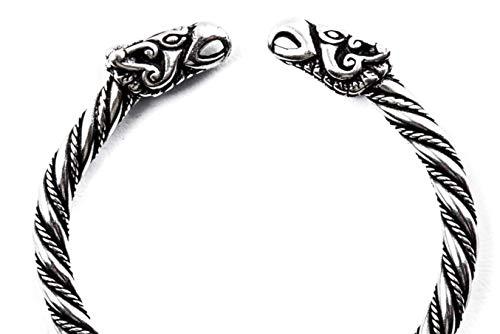 Windalf Handmade Wikinger Armreif Odins Raben Ø 5.7 cm Odin-Schmuck Hugin & Munin Mediaval Armschmuck Handarbeit 925 Sterlingsilber