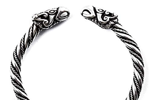Windalf Vintage Wikinger Armreif Odins Raben Ø 5.7 cm Hugin & Munin Viking Armschmuck Asatru Ethno Design Handarbeit 925 Sterlingsilber