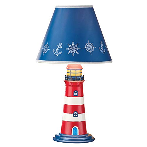 Seaside Style Classic Lighthouse Themed Tabletop Lamp, Red & White Pattern, Blue Shade Top with Nautical Accents - Resin Base, Paper Shade - 8.5'Dia x 15'H