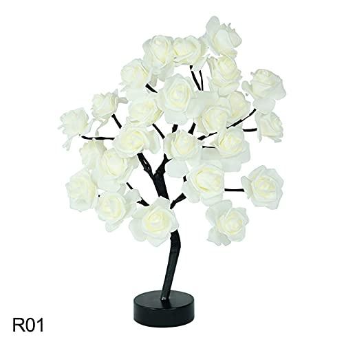 Lámpara Escritorio Lámpara de árbol de Rosa LED Detalle de Dormitorio para el hogar USB Rose Flor de Las Luces de la Noche (Farbe : R01)