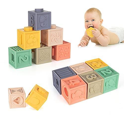 WolinTek Bloques Apilables para Bebés 0-12 Meses,Cubos Juguetes Bebe para Masticar la Dentición Juguetes Educativos para el Baño del Bebé Juegue con...