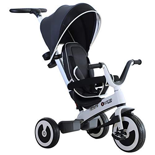 HOMCOM 4 in 1 Kinderdreirad Dreirad Kinder Fahrrad Rad Kinderwagen Schubstange Sonnendach Sicherheitsgurt ab 18 Monate dunkelgrau