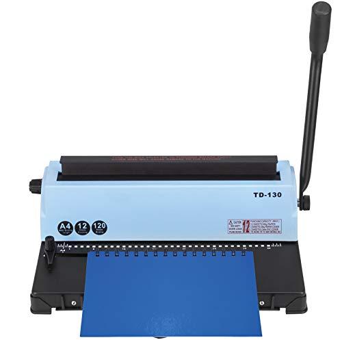VEVOR Máquina de Encuadernación de Bobina Manual de 34 Agujeros, Máquina de Encuadernación de Libro TD-130, 3 : 1 Bobina en Espiral Perforadora de Papel Carpeta de Perforación para A4, 4 x 4 mm