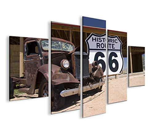 islandburner Cuadro sobre lienzo Route 66 Arizona Vintage Car MF XXL Póster Lienzo decorativo para salón marca