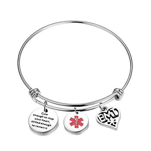 AKTAP EMT Gifts Cute Enough To Stop Your Heart EMT Charms Bangle Bracelet Gifts for Paramedics (EMT Bracelet)