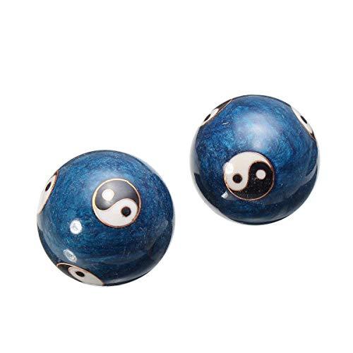 HXLF Neue Gesundheit Blau Baoding Ball Tägliches Training Stressabbau Handball Therapie Massagegerät Ball Handkraft Fitness Bälle