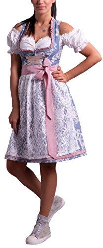 Golden Trachten-Kleid Dirndl Damen 3 TLG, Midi für Oktoberfest, mit Schürze und Bluse Fernblau geblümt 536GT (40)