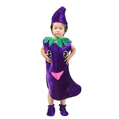 Traje verduras frutas niños Ropa de fiesta de berenjena para niños Disfraces para Halloween Cosplay Vacaciones navideñas Niños pequeños Niños Chicas