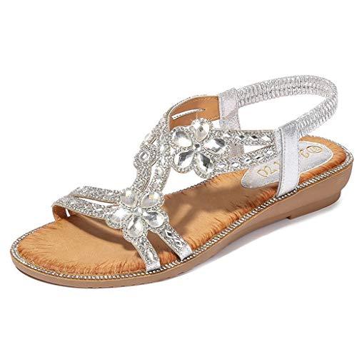 ZEELIY Femmes Sandales Été Chaussures Plates Chaussures de Plage Ballerine Escarpin Chaussures Bout Ouvert Perlées Sucrées Strass Tongs Sandales Talons Sandales à Chevrons Chaussures (Argent-G,39)