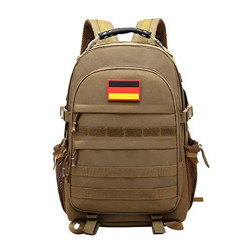 JOTHIN Taktischer Rucksack Herren Sport Backpack Outdoor Tagesrucksack Wasserdicht Armyrucksack Oxford-Tuch Rucksäcke mit USB für Survival Militär (40L)(Brown)