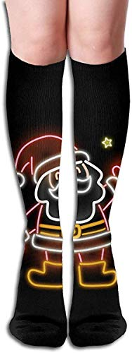 landianguangga not Glowing Neon Santa Compression Socks-Cool Fun Knee High Socks,Athletic,Running,Travel