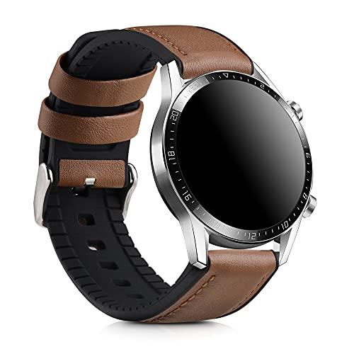 kwmobile Pulsera Compatible con Huawei Watch GT/GT2 (46mm) - Correa marrón/Negro de Cuero y Silicona para smartwatch