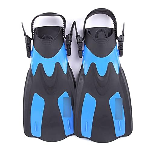 XJZM Aletas de natación, Zapatos de Buceo Cortos para Adultos, Aletas de natación, Aletas de pie, Aletas de Buceo, Aletas de Buceo con talón (Color : Blue, Size : M)