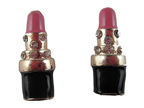 Ausgefallene Ohrringe Ohrstecker Stecker Lippenstift Kosmetik Drogerie rosa Straß 2466