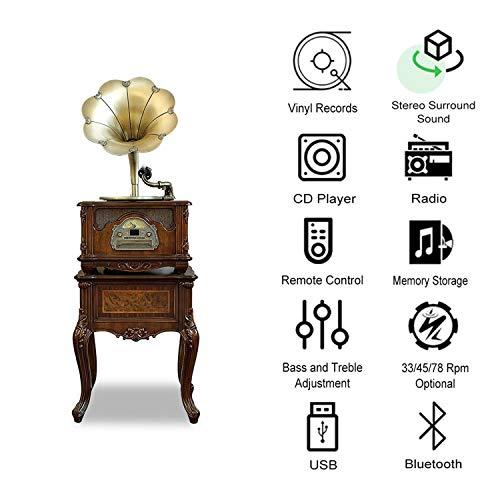 GOM platenspeler-bluetooth-luidsprekersysteem, 3-snelheden, RCA-uitgang, ondersteuning cd-speler, radio, USB-poort