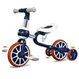 3 in 1 Kids Tricycles for 1-4 Years Old Kids with Detachable Pedal and Training Wheels | Baby Balance Bike Riding Toys for 2 Year Old Boys Girls | Infant Toddler First Birthday New Year Blue