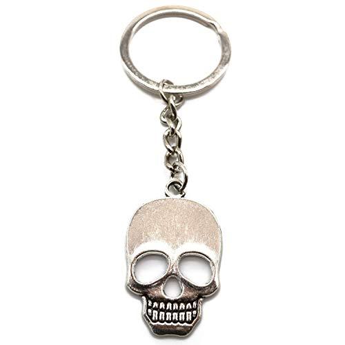 Totenkopf Schlüsselanhänger Silber aus Metal Schädell Gothic Taschenanhänger